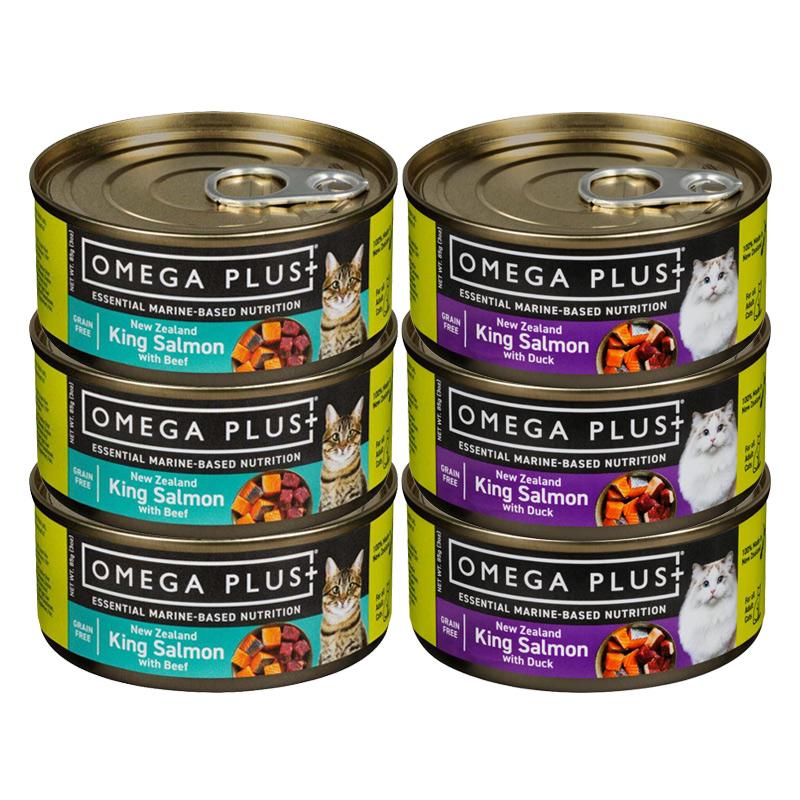 omega plus 帝王鲑无谷牛肉猫粮 主食罐 85g*6罐