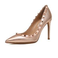 VALENTINO 华伦天奴 女士牛皮铆钉细高跟鞋 QW2S0057 NNF L30 玫瑰金 36.5