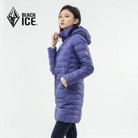 黑冰 F8181 女款鹅绒带帽中长款羽绒服 轻薄休闲羽绒大衣