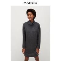MANGO女装连衣裙2020秋冬新款针织面料高翻领长袖连衣裙