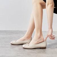 哈森集团旗下2020秋季新款低跟方跟浅口女士方头蝴蝶结单鞋