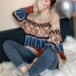 Tonlion 唐狮 62542FC0043366805  女士圆领图案毛线衫
