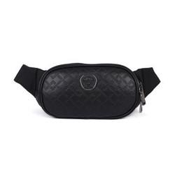 VERSACE 范思哲 奢侈品 男士黑色织物配皮美杜莎装饰斜挎腰包 DFB7630 DVBR25 DNNUB