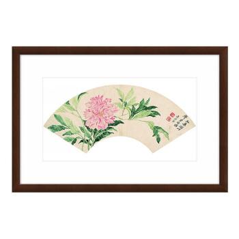 水墨画《芍药图》装饰画 挂画 沙发背景墙 茶褐色 77×52cm