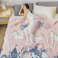晒晒 法兰绒空调午睡小毯子 100*120cm