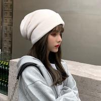 帽子女秋冬时尚双层加厚保暖针织帽女款帽子毛线帽包头帽堆堆帽