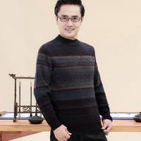 秋冬新款中老年男圆领休闲保暖加厚针织毛衣男士羊毛衫