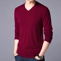 秋冬新品羊毛衫V领针织打底毛衣男士羊毛衫