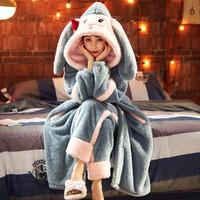 睡衣女珊瑚绒女士家居服长款法兰绒睡袍套装
