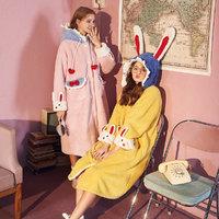 果壳家居服兔子连帽开衫睡袍厚加绒秋冬可外穿