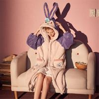 长袖睡袍休闲睡袍女可爱绣花兔子耳朵睡袍冬家居服睡衣女