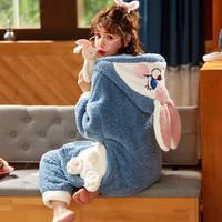 羊羔绒睡衣女冬季可爱连帽甜美学生加厚家居服睡衣