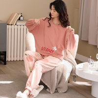 纯棉粉色可外穿女士家居服简约舒适甜美可爱睡衣女