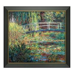《睡莲·绿色的和谐》莫奈油画 装饰画 深色油画框 59*56cm