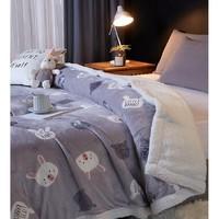 BEYOND 博洋家纺 波西小熊 法菜绒+羊羔绒双面毯 180*200cm