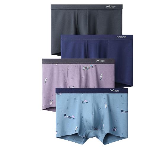 Miiow 猫人 男士平角内裤套装 MK-8099XP 4条装(天蓝+浅紫+蓝色+黑色) L