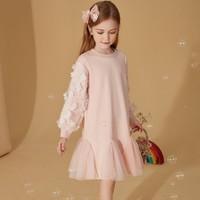 女童连衣裙2021春装儿童裙子花朵装饰网纱袖连衣裙潮