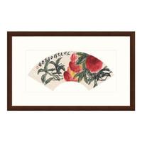 花卉国画水墨画齐白石名画《长寿延年扇》装饰画 76×47cm