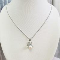 瑞妮莎 淡水珍珠吊坠 8-9mm白色天鹅设计款项链 气质女款锁骨链
