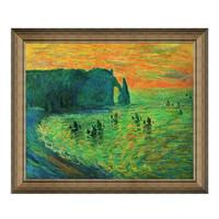 莫奈名人油画《埃特雷塔的礁石》沙发背景墙 装饰画