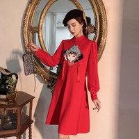 改良旗袍现代年轻款唐装女盘扣中国风复古女装国潮少女长袖连衣裙