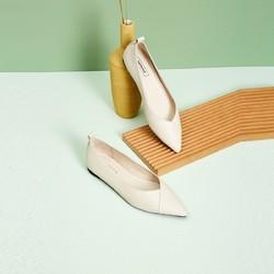 真皮!hotwind商场同款20年秋季新款女士时尚休闲单鞋舒适透气平底女尖头皮鞋