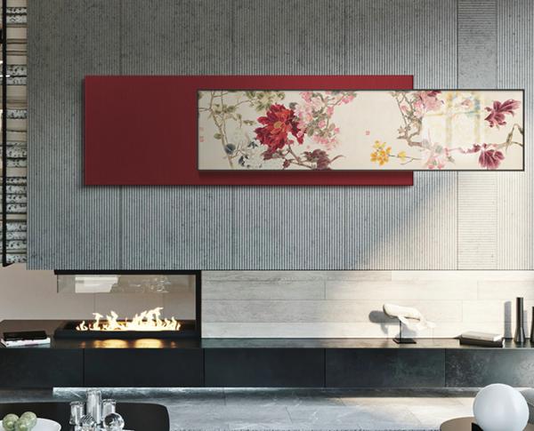橙舍新中式客厅 装饰画 国画 牡丹花卉 工笔画画百花齐放
