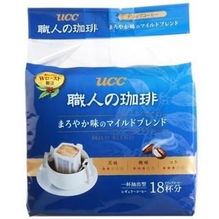 悠诗诗(UCC)滴滤挂耳式职人咖啡粉(圆润柔和) 7g*18p/袋 日本进口 *2件