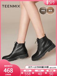 聚商场同款天美意马丁靴女小个子英伦风帅气短靴2019冬CLY40DD9