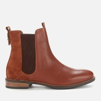Barbour 女士皮革切尔西靴-棕褐色