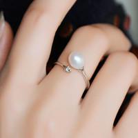 瑞妮莎 米形淡水珍珠戒指 可调节设计款 百搭时尚女戒尾戒