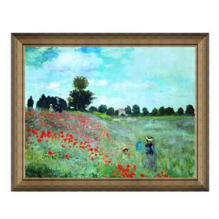 莫奈风景油画《野罂粟》沙发背景墙装饰画挂画 典雅栗 60×75cm