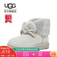 UGG 秋冬女士经典靴日系休闲可爱毛绒短靴中国新年款 1109735 灰白色  GRV 37
