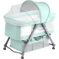 小猪酷琦 多功能婴儿床 便携式可折叠宝宝床游戏床可拼接儿童床  菲尼绿