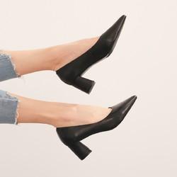 新款热风女鞋2020年夏季新款女士粗跟单鞋尖头粗高跟单鞋