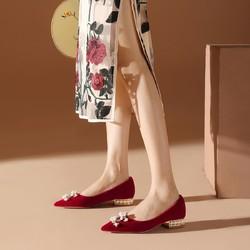细跟中跟鞋女2021春季新款女鞋尖头女士浅口单鞋宴会婚鞋