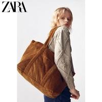 ZARA 16128710023 女士赤橙色灯芯绒大容量单肩包
