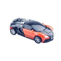 酷伴乐 变形金刚机器人玩具儿童变形汽车男女孩手动撞击布加迪新款车模(颜色随机一辆)
