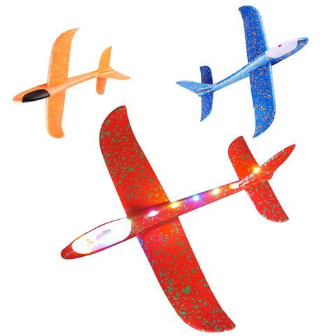 大号手抛飞机玩具发光户外滑行飞机儿童回旋投掷滑翔泡沫飞机模型
