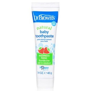 布朗博士(DrBrown's)儿童牙膏 美国原装进口无氟加钙可吞咽可食 草莓味儿童牙膏 0-3岁 *2件