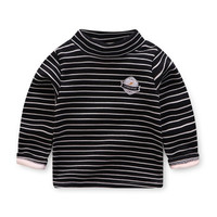 儿童长袖加绒加厚款高领t恤秋冬上衣男女童保暖内衣打底衫 D20 120cm *3件