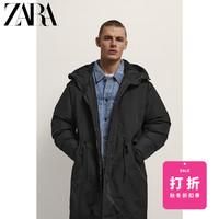ZARA 08574344800 男士中长款连帽棉服派克外套