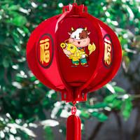 2021牛年新年春节过年商场学校布置装饰毛毡布小红灯笼灯户外防水 *10件