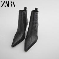 ZARATRF女鞋灰色动物纹印花牛仔式中跟短靴13129610004