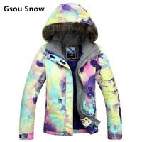 Gsou SNOW女士滑雪服冬单板双板滑雪保暖冲锋衣女款 户外登山棉服 1409-001 M 170-175 *3件