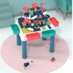 beiens 贝恩施 积木桌+178颗粒滑道积木 赠100颗粒蘑菇钉