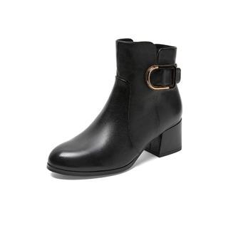 Teenmix 天美意 TBLCOP40DU2DD9 女士粗高跟拉链皮靴
