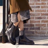 色非 2020秋冬新款增高真皮加绒烟管靴切尔西短靴女
