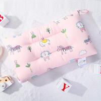 象宝宝(elepbaby)儿童枕头婴儿枕头幼儿园宝宝可水洗四季款棉质透气护颈枕芯 萌宠家族粉 *2件