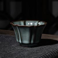 熹谷 龙泉青瓷铁胎陶瓷茶杯 六瓣杯